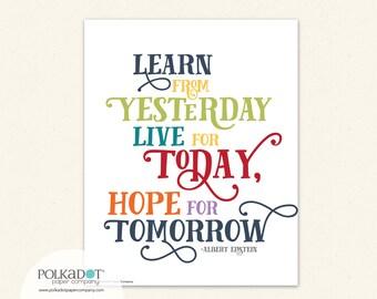 Learn from Yesterday - Albert Einstein Framable Print