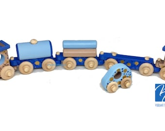 Blue and Beige Painted Wooden Toy Train Hand Made and Hand Painted FIVE CARS. Ready to Ship today.