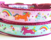 Rainbows and Unicorns - Dog Collar / Handmade / Adjustable / Pet Accessories / Gift Idea / Pet Lover