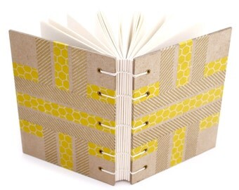 Yellow Striped Journal with Japanese paper tape - handmade by Ruth Bleakley