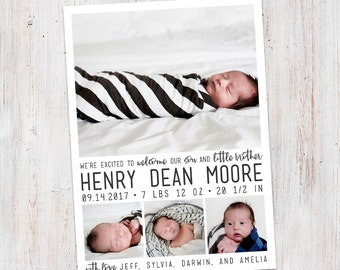 Birth Announcement : Welcome Henry Baby Boy Custom Photo Birth Announcement - Baby Announcement -  Photo Announcement, Faux Gold, Rose Gold