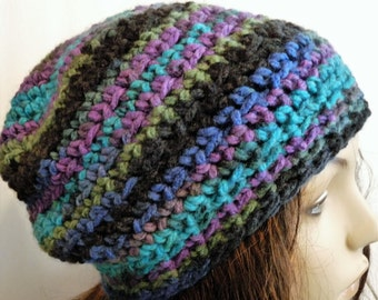 Crochet Slouchy Hat Beanie in black, purple, teal.  Made for teens and women.