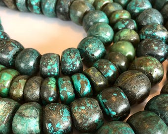 MEGA huge real turquoise rondelles full strand