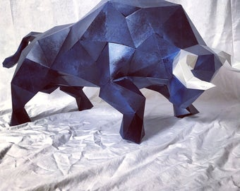 Bull Body papercraft. You get a PDF digital file templates and instructions for this DIY (do it yourself) impressive paper sculpture.