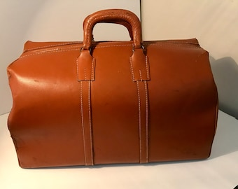 Antique Leather Satchel Luggage Suitcase Doctors Bag