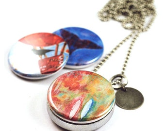 3-in-1 Art Locket, with interchangeable magnetic lids, custom stamped initial --- feathers, whale, oystercatcher in hot air balloon