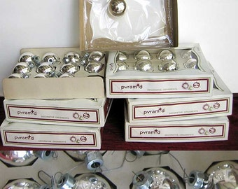 Vintage Silver Glass Ball Christmas Ornaments