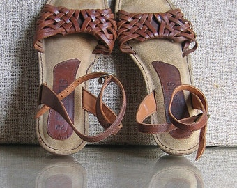 Sandals Leather with Wood Heels