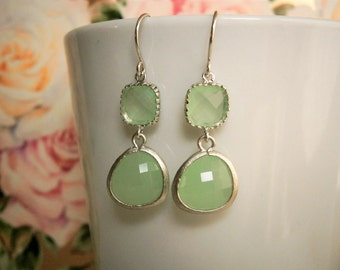 Green Earrings, Silver Earrings, Grayed Jade Earrings, Bridal Jewelry, Bridesmaid Earrings, Best Friend Birthday