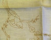 """Vintage Embroidery Canvas, Stamped with Pattern of Bird on a Branch with Fruit Blossoms, 19""""x26"""", For Floss or Crewel or Silk Embroidery"""