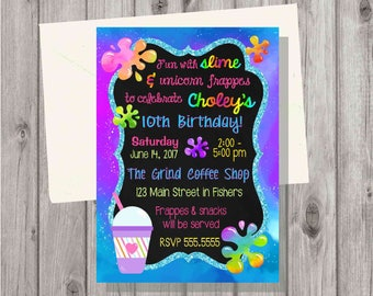 Digital Teen Tween Girl Frappuccino & Unicorn Slime Making Craft Birthday Party Invitation Printable