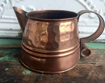 Vintage  Small Hammered Copper Metal Watering Can Garden Decor