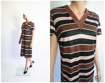 60s Mod Dress 1960s Drop Waist Deco Striped Dress Pleated Carnaby Street Twiggy Scooter Shift Mid-Century Midi Sixties Shirtdress Large