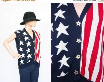 SALE Vintage American Flag Novelty Print Sweater Cardigan / 90s Slouchy Jumper / Grunge Punk / Iconic / 1990s Knit Shirt / USA / Vest