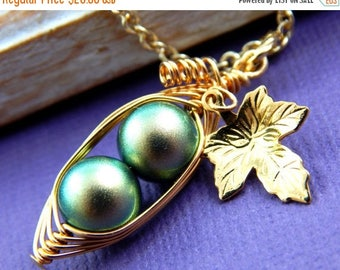 Mothers Day Sale 2 Peas In A Pod  Necklace. Iridescent Green - New Color -  For  Mothers, Sisters, BFF, Bridesmaids - Choose Your Color Pear