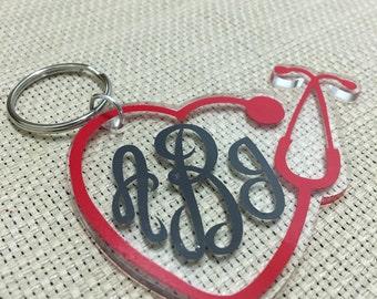 Nurse Heart Stethescope Monogrammed Keychain