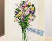 "Lori Custom Order Cards  Watercolor Original Card  ""Big Card"" 5x7 With Matching Envelope No Deckle betrueoriginals"