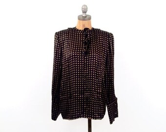 HOLIDAY SALE vintage VALENTINO black + gold French cuff Blouse M
