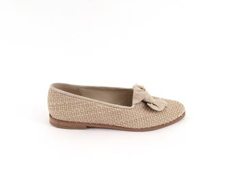90s taupe WOVEN minimalist BOW loafers 8-8.5 us