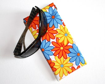 Padded Sunglass Pouch in Bright Floral Fabric