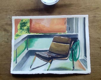 Original watercolor painting. Original watercolour art. Modernist chair in an Athenian balcony.