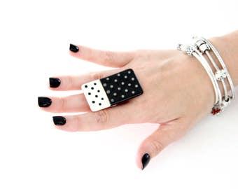 Ceramic Ring, Statement ring  - big ring  bold ring, ceramic jewelry, handmade ring, New Year fashion, polka dot statement jewelry