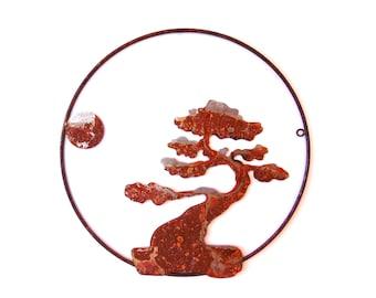 FREE SHIPPING Bonsai With Moon Wall Hanging LARGE 24X24 -Home Decor Metal Garden Art
