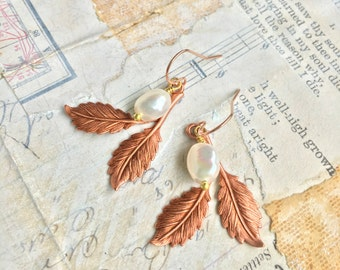 Rose Gold Leaf Earrings Pearl Copper Pink Leaf Earrings Woodland Jewelry Nature Inspired Rustic Leaf Dangle Winter Wedding