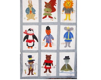 Animals in Fancy Dress- Custom Baby Quilt/ Crib Duvet Cover- Personalized Baby Gift - Nursery Bedding