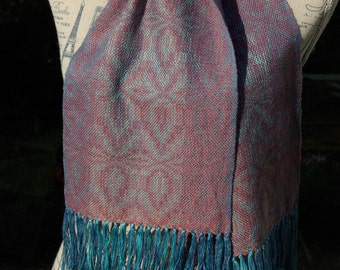 Hand dyed handwoven scarf mulberry silk and merino by La Maison des Fibres