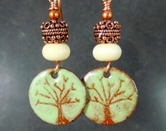 Tree Earrings, Rustic Enameled Copper Dangle Earrings, Woodland Jewelry, Green Brown Earrings, Boho Chic Jewelry Nature Inspired Earth Tones