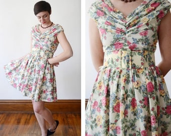 90s Cotton Floral Mini Dress by Fredericks of Hollywood - S