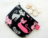 Retro Kitty Cats Mini Coin Purse Fabric Change Purse Little Zipper Coin Purse Whiskers and Tails Hot Pink Gray Black Kittens Handmade MTO
