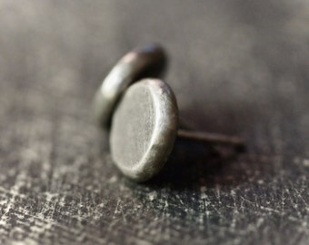 Handmade industrial hammered fine silver button disc stud earrings
