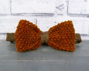 Hand Knitted and Tweed Bow Tie - Rust and Brown, knit bow tie, mens bow tie
