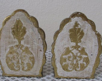 Hollywood Regency Italian Florentine Gold and White Toleware Scalloped Bookends FLORENTIA Label Made in Italy