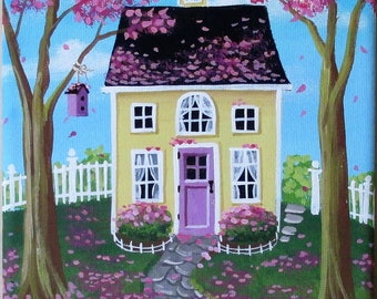 Folk Art Painting Petal Pink Frosting Original Spring Art on Stretched Canvas