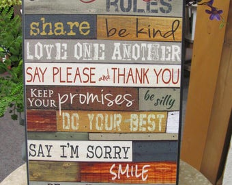 Family Rules Wall Decor,Our Family Rules, Wooden Art Sign,9x18,Marla Rae