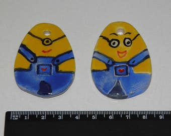2 Pieces Handmade Ceramic Minions Egg Smiling Faces Tiles