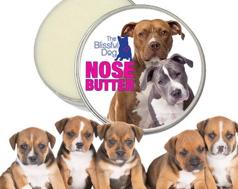 American Staffordshire Terrier NOSE BUTTER® All Natural, Handcrafted Salve for Rough, Dry, Crusty Dog Noses 16 oz Tin AmStaff Duo Label