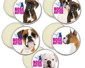 BOXER NOSE BUTTER® Handcrafted All Natural Balm for Dry Dog Noses 16 oz Tin 5 Boxer Labels: Fawn, Brindle, White, Show & Duo in Gift Bag