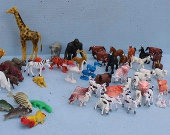 Lot of 65 Hard Plastic Animals Farm Zoo Jungle Fish