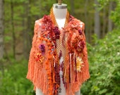 Orange boho SHAWL/ Wrap, OOAK refashioned accessory, textured capelet with flowers, ruffles