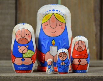 Handmade Matryoshka Nativity nesting dolls - 5 pieces - Folk art - Christmas