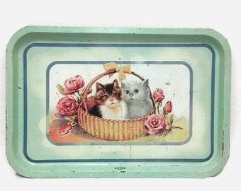 Shabby Tin Tray with Cats & Roses - Mid Century - Willow - Made in Australia - Cottage Decor