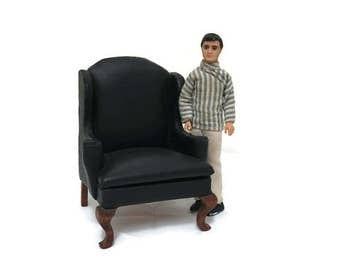 Vintage Dollhouse Black Leather Chair - Miniature Furniture