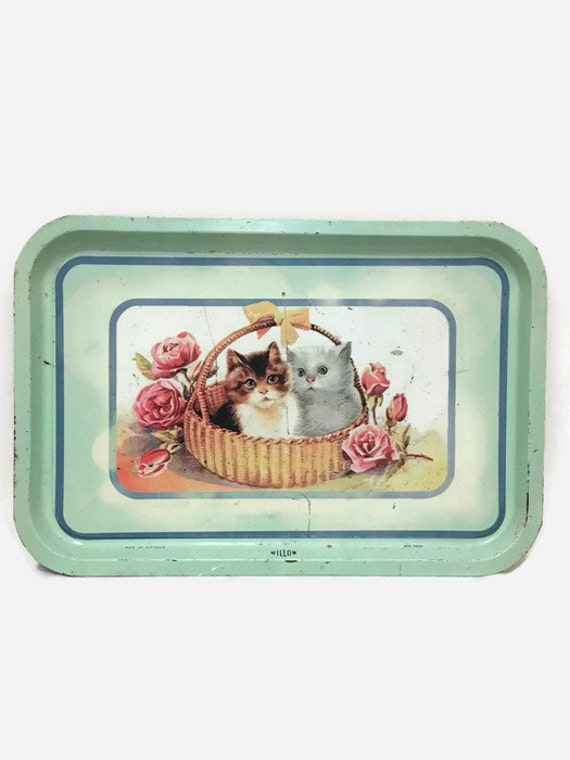 Vintage Tin Tray with Cats & Roses - Mid Century - Willow - Made in Australia