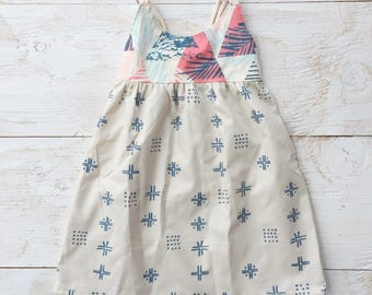 Tropical / Modern Strappy Girl Dress Palm Leaf Print / Triangles - Baby, Toddler, Youth Dress - made in Maui, Hawaii USA