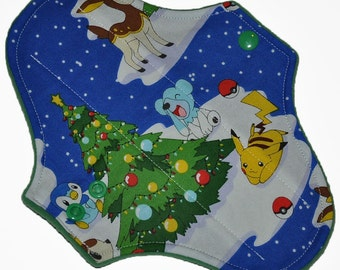Light Hemp Core- Pokemon Winterland Reusable Cloth Pantyliner Pad- WindPro Fleece- 8.5 Inches