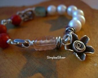 Artisan Jewelry  -  Handmade Bracelet  -  Freshwater Pearl Bracelet  -  Apple Coral Bracelet  -  Fine Silver Bracelet  -  SimpleeSilver